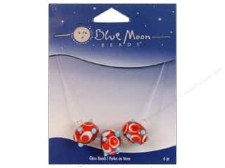 Blue Moon Beads Art Glass Rondelle Bumpy Red/White/Blue