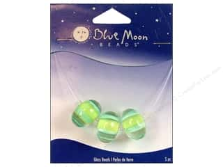 Blue Moon Beads Art Glass Rondelle Stripe Clear Green