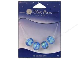 Blue Moon Beads Art Glass Rondelle Swirl Clear Blue