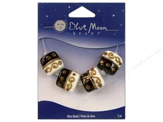 Blue Moon Beads Art Glass Square Swirl Black/White