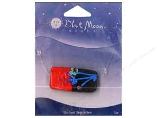 Blue Moon Beads Art Glass Rectangle Flower Red/Black