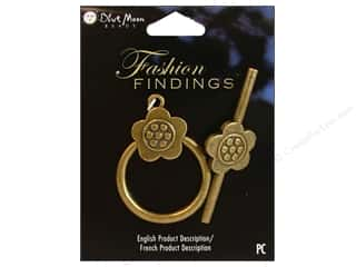 Clearance Blumenthal Favorite Findings: Blue Moon Beads Toggle Clasps Flower Oxidized Brass