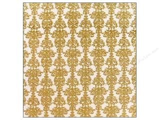 American Crafts 12 x 12 in. Paper Glitter Damask 2 Gold (15 sheets)