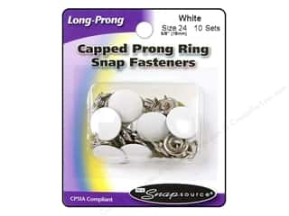 Leatherwork Size: Snapsource Snap Capped Prong Ring Size 24 Ring White