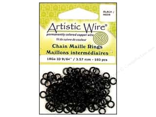 Artistic Wire Black: Artistic Wire Chain Maille Jump Rings 18 ga. 9/64 in. Black 160 pc.