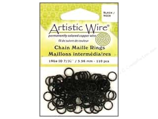 "7"" wire: Artistic Wire Chain Maille Jump Rings 18 ga. 7/32 in. Black 110 pc."