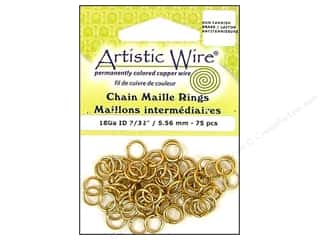 Jump Rings / Spring Rings: Artistic Wire Jump Rings 18 ga. 7/32 in. Brass 75 pc.