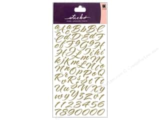 EK Sticko Stickers Alpha Script Brush Stroke Gold
