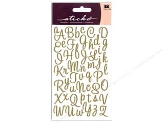 EK Success ABC & 123: EK Sticko Alphabet Stickers Script Sweetheart Small Glitter Gold