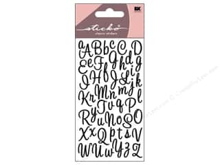 EK Success ABC & 123: EK Sticko Alphabet Stickers Script Sweetheart Small Glitter Black