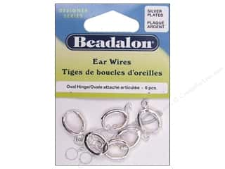 beadalon earring: Beadalon Ear Wires Oval Hinge Slvr Plate 6pc