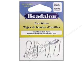 beadalon earring: Beadalon Ear Wires Pinch Bail Sm Slvr Plate 4pc