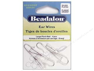 Beadalon Ear Wires Pinch Bail Lg Slvr Plate 4pc