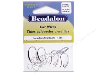 Beadalon Ear Wires Back Ring Med Slvr Plate 4pc