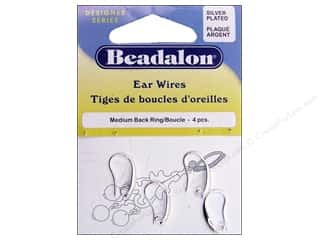 Earrings Beadalon: Beadalon Ear Wires Medium Back Ring 4 pc. Silver Plated