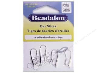 Beadalon Ear Wires Back Loop Large Silver Plated 4pc
