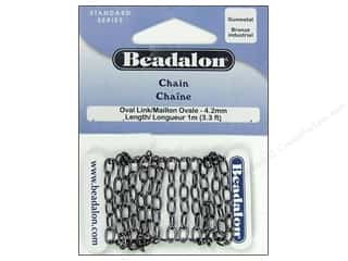 Chains inches: Beadalon Oval Link Chain 4.2 mm (.163 in.) Gunmetal 1 M (3.28 ft.)