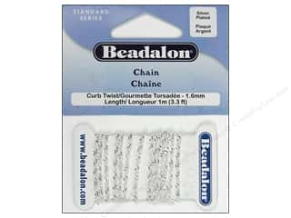 Beadalon Chains: Beadalon Curb Twist Chain 4.6 mm (.181 in.) Silver Plated 1 m (3.28 ft.)