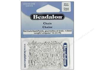 Chains: Beadalon Dot-Curb-Dash Chain 4.6 mm (.181 in.) Silver Plated 1 m (3.28 ft.)