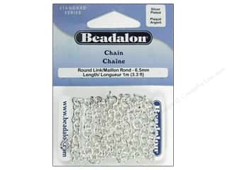jewelry chains: Beadalon Round Link Chain 6.5 mm (.258 in.) Silver Plated 1 m (3.28 ft.)
