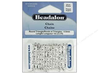 Chains inches: Beadalon Round Triangle Chain 4.6 mm (.181 in.) Silver Plated 1 m (3.28 ft.)