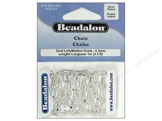 Beadalon Chain Oval Link 4.3mm Silver Plate 1M