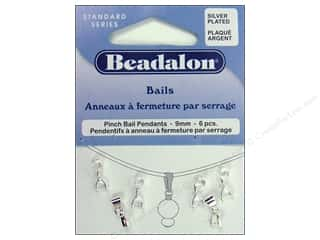 Beadalon Bails Pendant Pinch 9mm Silver Plate 6pc