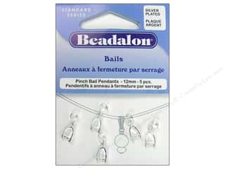 Beadalon Bails Pendant Pinch 12mm Silver Plate 5pc