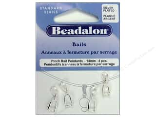 Beadalon Jump Rings/Spring Rings: Beadalon Pinch Pendant Bail 14 mm Silver Plated 4 pc.