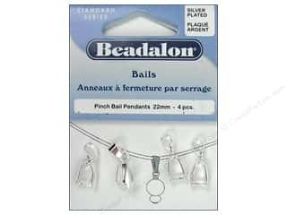 Beadalon Pinch Pendant Bail 22 mm Silver Plated 4 pc.