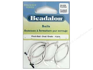 Beadalon Jump Rings/Spring Rings: Beadalon Pinch Bail Oval Silver Plated 4 pc.