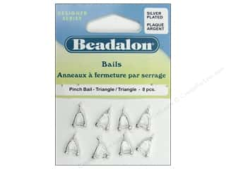 Beadalon Jump Rings/Spring Rings: Beadalon Pinch Bail Triangle Silver Plated 8 pc.