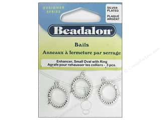 Beadalon Jump Rings/Spring Rings: Beadalon Enhancer Bail Oval Small 19 mm Silver Plated 3 pc.