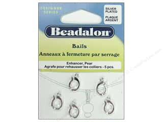 Beadalon Bails Enhancer Pear Silver Plate 5pc