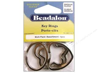 Beadalon Keyrings Assorted Rhodium Plate 4pc