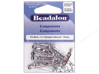 Beadalon Findings: Beadalon Pin Back 1 in. Rhodium Plated 10 pc.