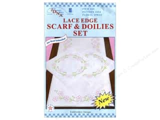 Jack Dempsey Scarf &amp; Doily Set Lace Edge Floral Spray