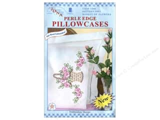 Jack Dempsey Jack Dempsey Pillowcase Lace Edge White: Jack Dempsey Pillowcase Perle Edge White Basket Of Flowers
