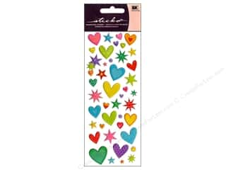 Hearts Stickers: EK Sticko Stickers Puffy Hearts N Stars