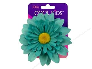 Offray Cool Kids Clip/Pin 4&quot; Flower Turquoise