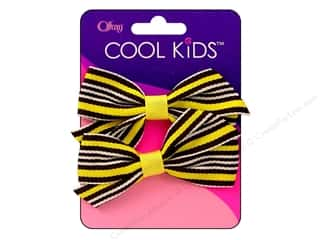 Offray Cool Kids Bow Multi Color Yellow/Blk 2pc