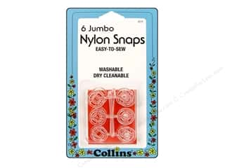 Sewing Construction Clear: Nylon Snaps by Collins Jumbo Clear 6 sets