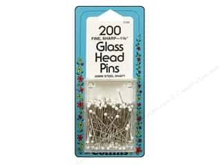 Collins Pins Glass Head 1 3/8&quot; White 200pc