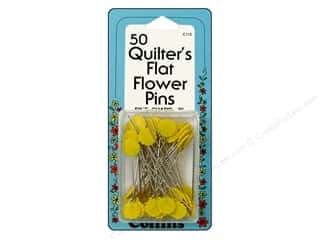 "Quilting Collins: Collins Pins Flat Flower 2"" Yellow 50pc"