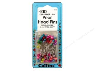 "Collins Pins Pearl Head 1.5"" Assorted 100pc"