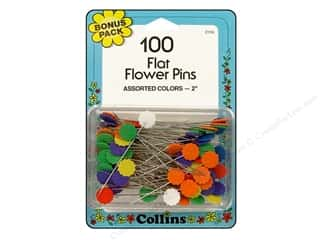Pins Straight Pins: Flat Flower Pins Bonus Pack by Collins 100 pc.
