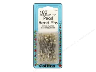 "Collins Pins Pearl Head 1.5"" White 100pc"