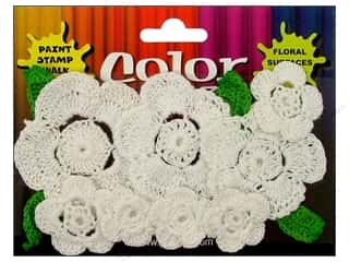 Petaloo Color Me Crazy Floral Crocheted Wht 12pc
