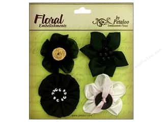 Petaloo Expressions Collection Flowers Black 4pc