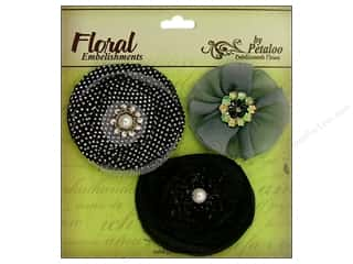 Petaloo Expressions Flowers Black 3pc